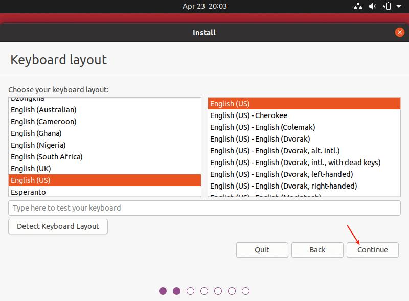 انتخاب زبان موقع نصب اوبونتو 20.04
