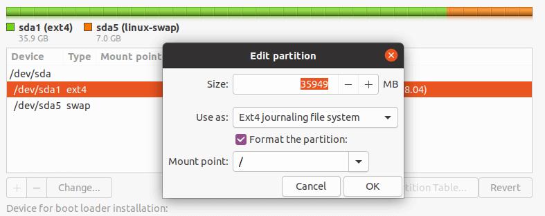 ساخت پارتیشن root در اوبونتو 20.04